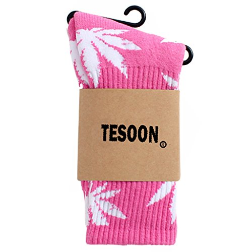 TESOON Marijuana Leaf Colorful Soft Cotton Crew Socks Pink with White Leaf