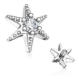 MoBody 14G Clear CZ Jeweled Starburst Top Surgical Steel Internally Threaded Dermal Anchor Body Piercing Top (Silver-Tone)