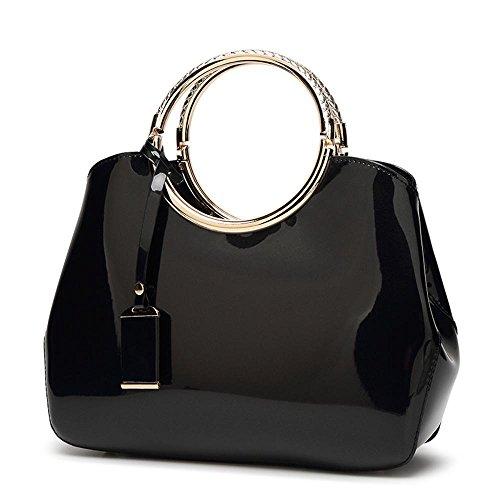 Aoligei Mariée rouge sac fashion en cuir brillant femme sac messenger bag sac centaines tour C