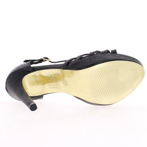 sandali tacco nero di 13cm piattaforma