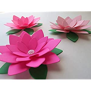 Set of 3 Lotus Paper Flowers Shades of Pink Water Lilies 4 Inch Beautiful Blooms Baby Shower Decor
