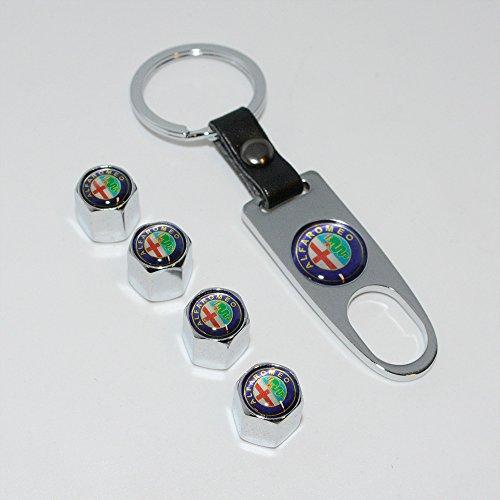 US85 Chrome Alfa Romeo Car Wheel Tyre Tire Metal Alloy Stem Valve Cap & Keychain Set