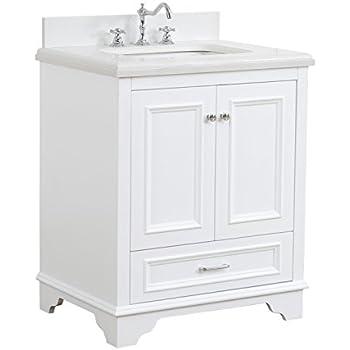 Nantucket 30 inch bathroom vanity quartz white includes - 30 inch white bathroom vanity with drawers ...