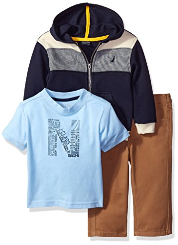Blocked Hoody (Nautica Boys' Three Piece Color Blocked Fleece Hoodie with Graphic Tee and Twill Pant, Sport Navy, 24)