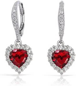 Bling Jewelry Simulated Garnet CZ Heart Leverback Earrings Rhodium Plated