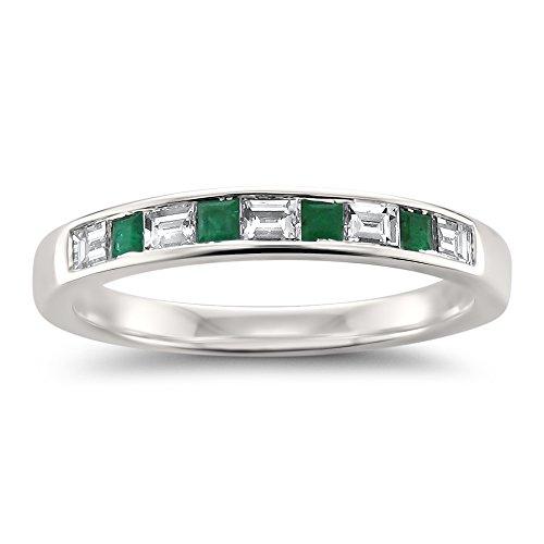 - 14k White Gold Baguette Diamond & Princess-Cut Green Emerald Wedding Band Ring (1/2 cttw, H-I, SI1-SI2), Size 5