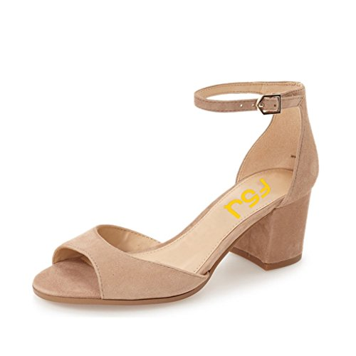 Heels FSJ Comfort Low Size Toe Nude Peep Ankle Sandals Strap US Shoes Pumps Elegant Women 6 13 Chunky PwqXrP0