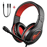 Gaming Headset,COLUSI Lightweight Volume Control LED Light USB Headphones with Microphone Stereo Gaming Headset,Over Ear Headphones for Laptop,Computer,Tablet iPad,Mobile Phone (red)