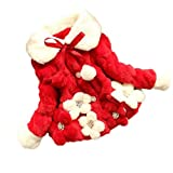 ZLOLIA Baby Clothes Winter Girls Kids 0-2 Year Toddler Flower Outwear Warm Jacket Snowsuit (80, Red)