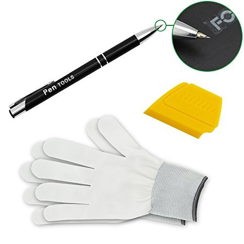 FOSHIO Automotive Vinyl Installing Tool Kit 3 In 1 Include Retracting Air Release Tool Pen, Yellow Mini Squeegee and Gloves for Window Tint Film