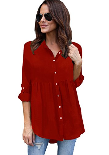 Blouse Yidarton Rouge Top Chemise Classique Longues Manches Femme Fluide Casual Chic xz6Fa7wq6