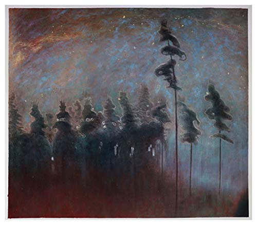 Forest - Mikalojus Ciurlionis hand-painted oil painting reproduction,nocturne landscape,living room large wall at,abstract starry night - Nocturne Bedroom