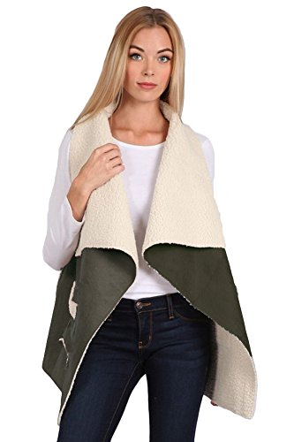 Aris Ultra Soft Cozy Chic Shearling Sherpa Faux Suede Vest Jacket Bundle: Top & Storage Bag (S/M, ()