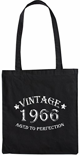 49 50 Nero Tote to Perfection Vintage Borsa Merchandise Bag Colore 1966 Bagaglio Mister Aged Nero zfwgqy