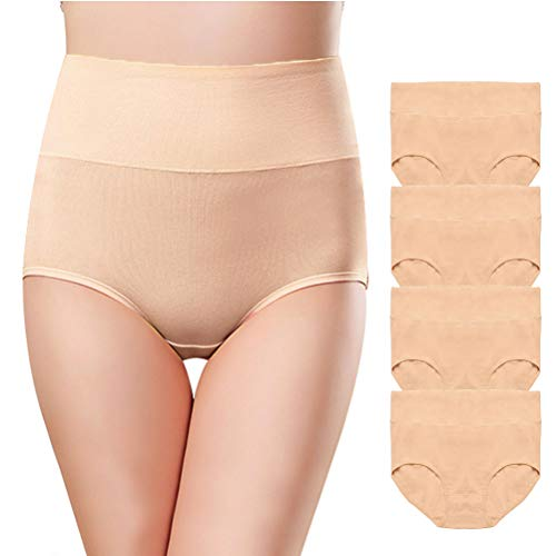 Envlon Womens Cotton Underwear, High Waist Soft Breathable Stretchy Ladies Panties Brief Multipack ()