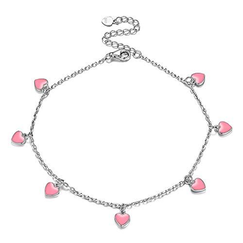 925 Sterling Silver Anklet, Pink Enamel Love Heart Ankle Bracelet Dainty Cute Boho Beach Ankle Bracelet Adjustable Ankle Foot Chain for Women Girls