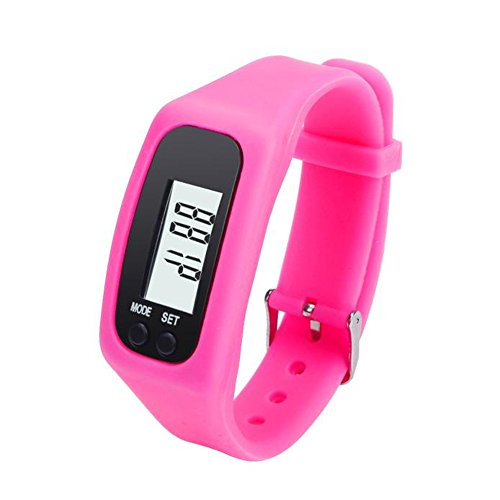 Digital LCD Pedometer Run Step Walking Distance Calorie Counter Watch Bracelet Water-Resistant Digital Watch for Men Women Bracelet Watch Waterproof Swimming Frozen Sports Watch Boys (hot Pink)