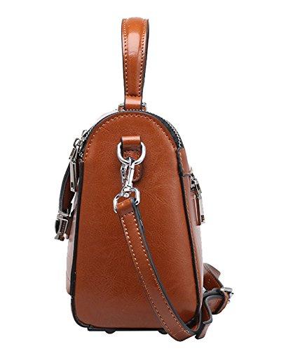 SAIERLONG Neues Damen Erdigen Yellow Rindleder-Echtes Leder Damen Handtaschen Schultertaschen Grau evw3F5tbER