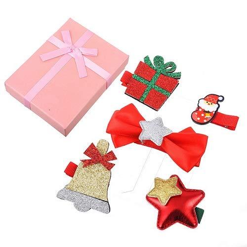 VADOLY 5PCS Children Hair Clips Santa Tree Deer Bell Ribbon Barrettes Kids Bow Star Pompom Hair Accessories