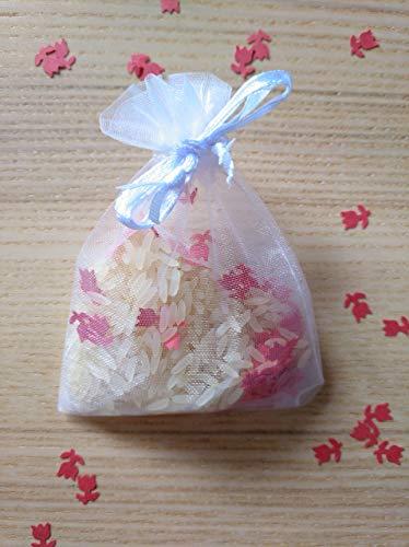 Bolsas de organza con arroz y confeti modelo flor para boda ...