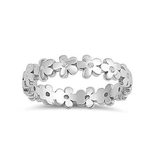 .925 Sterling Silver Garland of Flowers Cubic Zirconia Ring ()