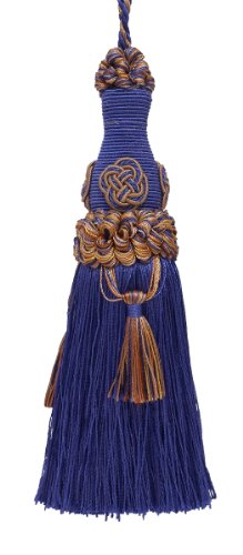 "Decorative 6"" Key Tassel / Ultramarine Blue, Tan / Baroque C"