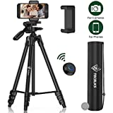 Lightweight Tripod 55-Inch, Travel/Video/Phone/Camera Tripod Stand with Bluetooth Remote, Phone Clip, Carry Bag and Replacement Battery for Travel/YouTube Video/Photography/Vlog