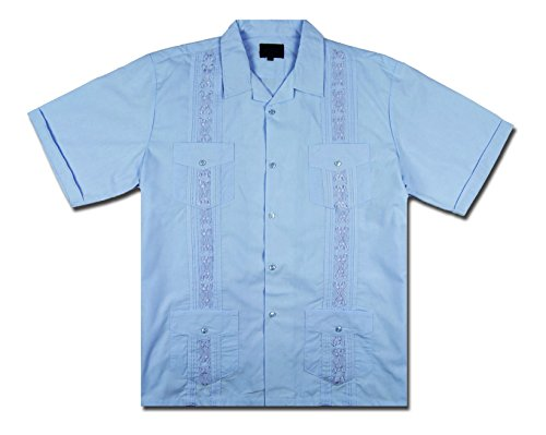 Maximos by R & B New Guayabera Kids Boys Cuban Latino Style Wedding Button Down Dress Shirt (4, Light Blue) ()
