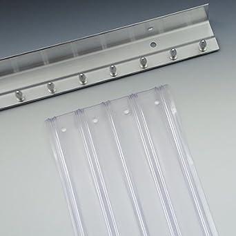 Overlap 50/% - AB-78-120C 1 Kit 8 Width 6 x 8 Scratch Resistant Clear Vinyl Strip Door Kit with Orange Safety Strips .198 Gauge