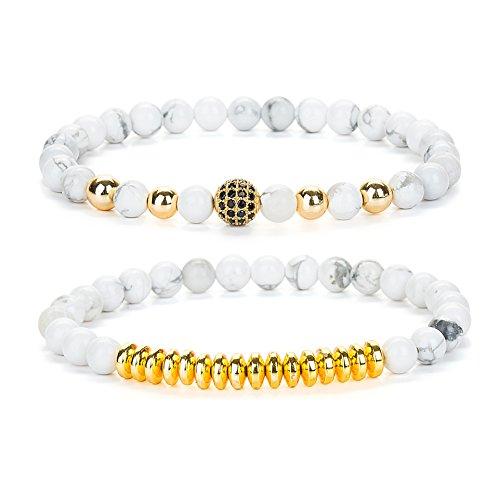 Joya Gift Beads Bracelet Set for Men with Black Onxy Crown Tiger Head Charm Handmade Jewelry (Howlite)