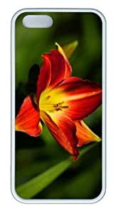custom made case red yellow lily TPU White Case for iphone 5/5S