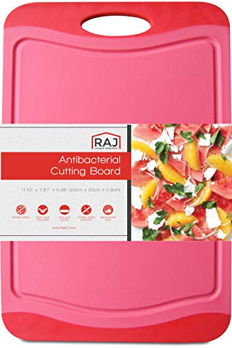 Raj Plastic Cutting Board Reversible Cutting board, Dishwasher Safe, Chopping Boards, Juice Groove, Large Handle, Non-Slip, BPA Free, FDA Approved (12