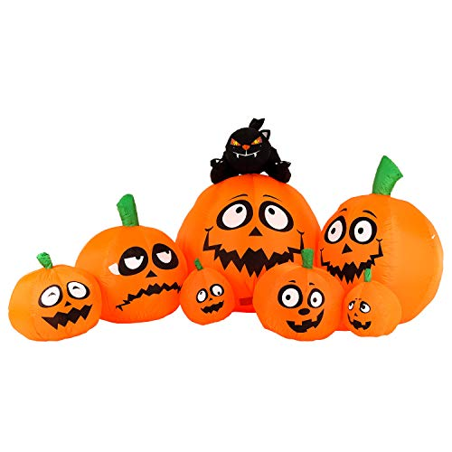 Halloween Haunters 8 Foot Inflatable 7 Smiling Pumpkins Scary Smile Face Jack-O-Lantern Patch Black Cat LED Lights Indoor Outdoor Yard Lawn Prop Decoration - Blow Up Entryway Party Display ()