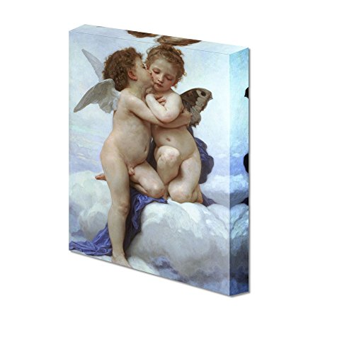 Cupid and Psyche as Children First Kiss by William Adolphe Bouguereau Giclee Canvas Prints Wrapped Gallery Wall Art | Stretched and Framed Ready to Hang - 24