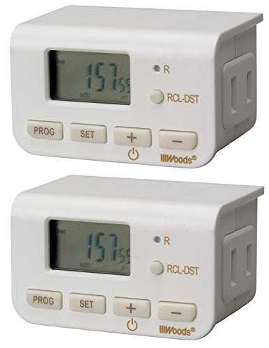 3 x Woods 50007WD Indoor 24-Hour Digital Timer, Daily Settings, 2-Pack by Woods
