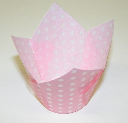 (Baby Pink and White Polka Tulip Cupcake Baking Cup Liners -24ct)