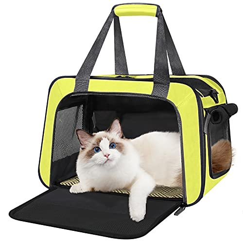 Cat Carrier Airline Approved Small Dog Carrier Soft-Sided Pet Travel Bag for Cats Under 15 Lbs, 16.5