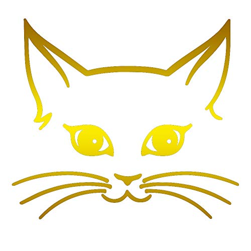 ANGDEST Girly CAT FACE (Metallic Gold) (Set of 2) Premium Waterproof Vinyl Decal Stickers for Laptop Phone Accessory Helmet Car Window Bumper Mug Tuber Cup Door Wall Decoration -