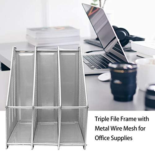 fgjhfghfjghj Bürobedarf Metalldrahtgeflecht Dreifacher Aktenhalter Aktenfach Buch Datei Informationsrahmen Office-Aktenregal