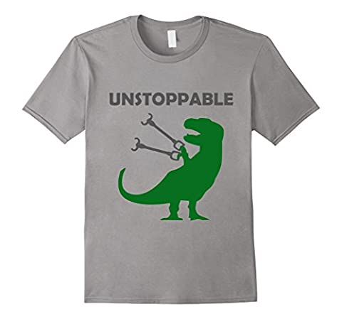 Mens Unstoppable T-Rex T-Shirt - Tyrannosaurs Rex with Long Arms XL Slate - Long Graphic