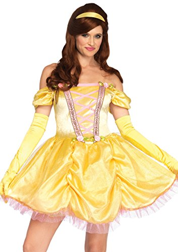 [Leg Avenue Women's 3 Pc Enchanting Princess Beauty Costume, Yellow, SML/MED] (Belle Costume Womens)