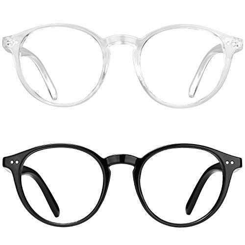 EOSNEIK Blue Light Blocking Glasses Men Women Vintage Thick Round Rim Frame Eyeglasses Anti Blue Ray Computer Game Glasses
