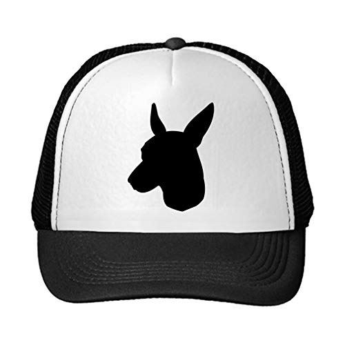 (Trucker Hat Toy Manchester Terrier Silhouette Polyester Baseball Mesh Cap Snaps Black/Black One Size )