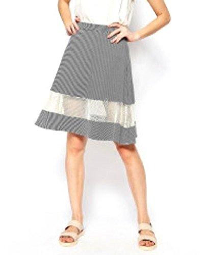 Crochet Inset Skirt (Harlyn - Women's - B&W Striped Crochet Mesh Inset A-Line Skirt (Small))