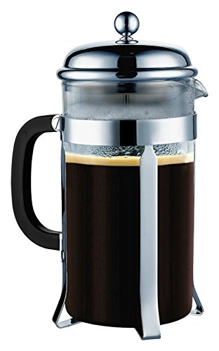 SterlingPro French Coffee Press 8 Cup (1 liter 34 oz) , Chrome : heat-resistant borosilicate glass