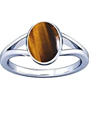 Divya Shakti 7.25-7.50 Carat Tiger's eye Chitti Gemstone Silver Ring for Men & Women