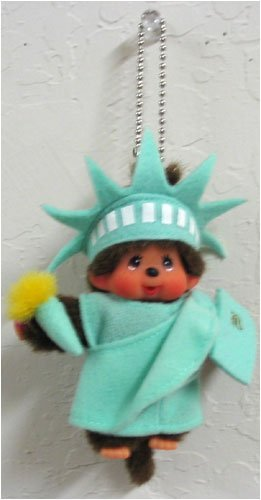 Monchhichi World Costume America Liberty Keychain Plush Doll