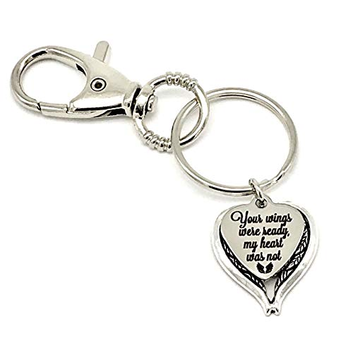 Memorial Keyring, Your Wings Were Ready My Heart Was Not with Angel Wings