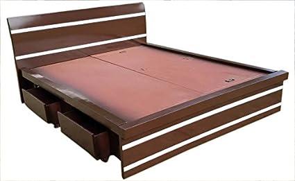 Wood Worx Queen Size Box bed - Duco Strip Design (Brown ...