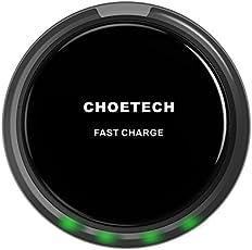CHOETECH Cargador Rápido Inalámbrico, 10W Wireless Charger Cargador Qi con Sensor de Relámpago Inteligente para Galaxy S7,S7 Edge,Note 5 and S6 Edge+ y Otros Dispositivos Habilitados Qi